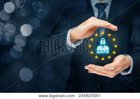 Gdpr (general Data Protection Regulation) Concept. Businessman Or It Technologist With Text Gdpr, Pe