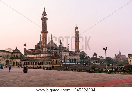 Lucknow, India - 3rd Feb 2018: The Famed Asfi Mosque In The Bara Imambara Complex In Lucknow Shot At