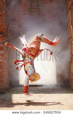 Hanuman (monkey God) Somersaults In Khon Or Traditional Thai Pantomime As A Cultural Dancing Arts Pe