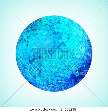 Blue Discoball. Disco Mirrorball Designed For Party Flyer, Art Poster Or Cover Brochure. Vector Illu