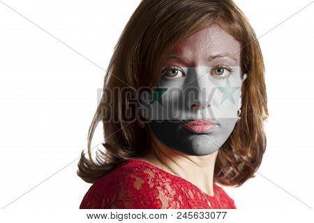 Woman Face With Painted Flag Of Syria Isolated On White Background