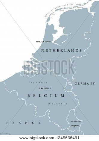 Benelux Countries, Gray Colored Political Map. Belgium, Netherlands And Luxembourg. Benelux Union, A