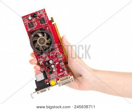 Video Card In Hand On White Background Isolation