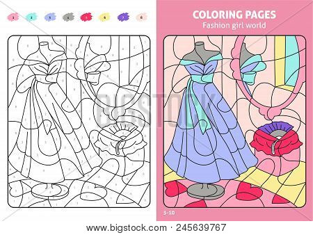Fashion Girl World Coloring Page For Kids, Workshop. Printable Design Coloring Book. Coloring Puzzle