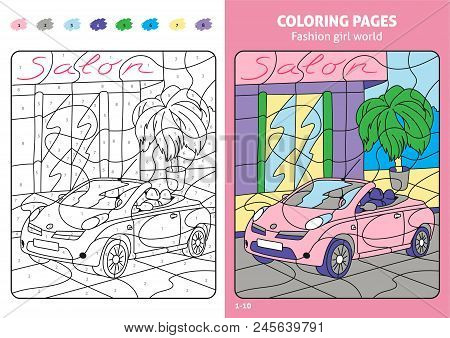 Fashion Girl World Coloring Pages For Kids. Printable Design Coloring Book. Coloring Puzzle With Num