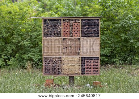 Special House For Useful Garden Insects, Built Of Natural Materials. Creates Natural Conditions For