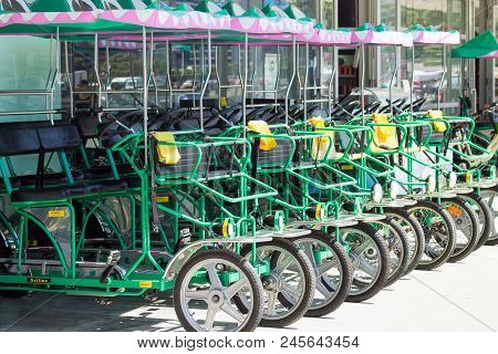 Wellington, New Zealand - 13 February 2016: The Enormous Crocodile Company Croc-bikes For Hire Along