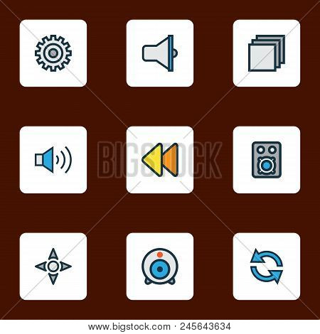 Multimedia Icons Colored Line Set With Rewind, Sync, Web Cam And Other Bullhorn Elements. Isolated V