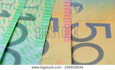Macro Closeup Of Australian Fifty And One Hundred Dollar Notes, Shallow Dof.
