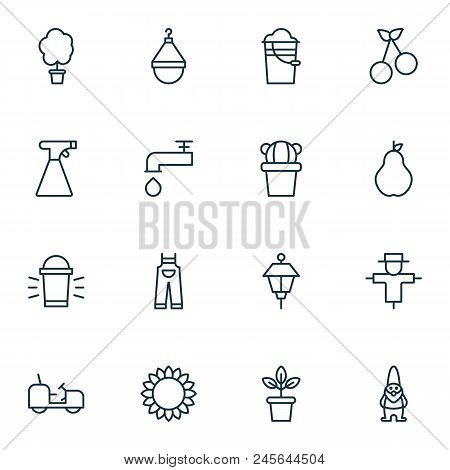 Gardening Icons Set With Pail, Scale, Tractor And Other Spigot Elements. Isolated  Illustration Gard