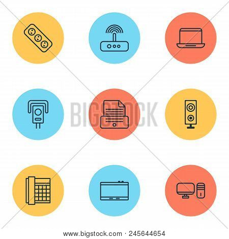 Gadget Icons Set With Office Telephone, Modem, Laptop And Other Notebook Elements. Isolated  Illustr