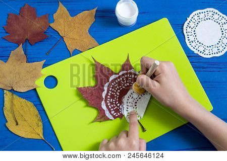 Hand-painted On Dry Autumn Leaves