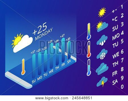 Isometric Set Of Weather Application Design Elements. Weather Symbols, Design For A Mobile Applicati
