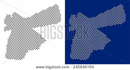 Pixel Jordan Map. Vector Geographic Map On White And Blue Backgrounds. Vector Concept Of Jordan Map