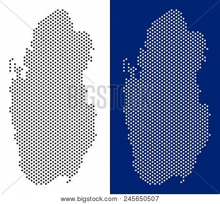 Dot Qatar Map. Vector Geographic Map On White And Blue Backgrounds. Vector Mosaic Of Qatar Map Combi