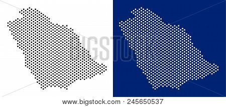 Dot Saudi Arabia Map. Vector Geographic Map On White And Blue Backgrounds. Vector Composition Of Sau
