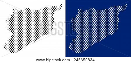 Dot Syria Map. Vector Geographic Map On White And Blue Backgrounds. Vector Collage Of Syria Map Orga