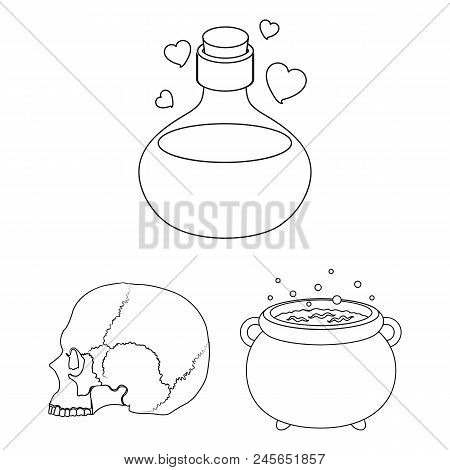 Black And White Magic Outline Icons In Set Collection For Design. Attributes And Sorceress Accessori