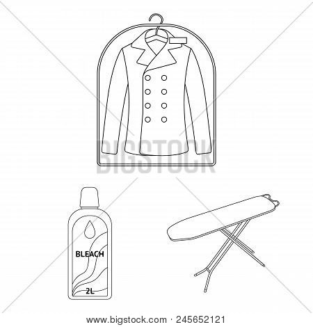 Dry Cleaning Equipment Outline Icons In Set Collection For Design. Washing And Ironing Clothes Vecto