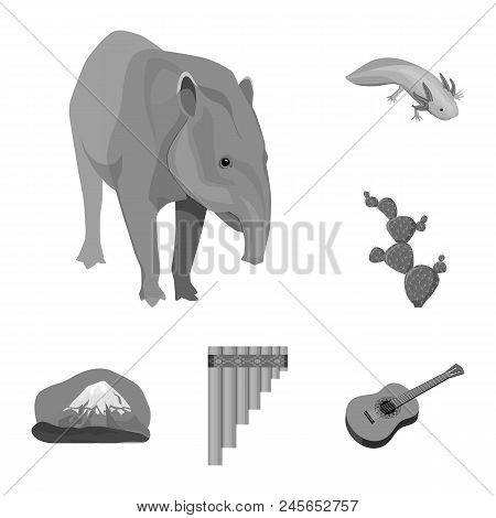 Country Mexico Monochrome Icons In Set Collection For Design. Mexico And Landmark Vector Symbol Stoc