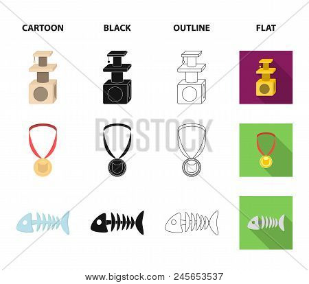 Cat's Eyes, A Collar, A House For A Cat, A Medal On A Ribbon.cat Set Collection Icons In Cartoon,bla