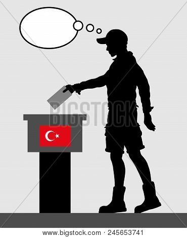 Turkish voter young man voting for election in Turkey with thought bubble. All the silhouette objects and backgrounds are in different layers. poster