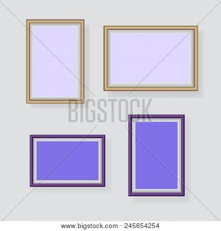 Lavender Photo Frames Decorated In Wall, Stock Vector