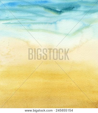 Abstract Watercolor Gradient Sea And Sand. The Color Splashing In The Paper. It Is A Hand Drawn. Pri
