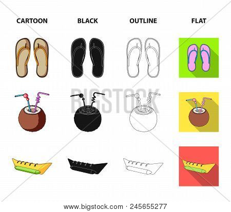 Diving, Surfing, Cocktail.summer Vacation Set Collection Icons In Cartoon, Black, Outline, Flat Styl