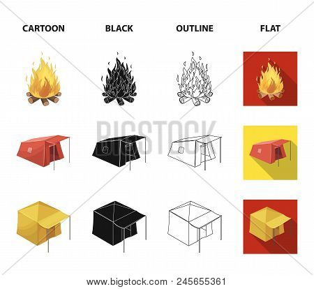 Awning, Fire And Other Tourist Equipment.tent Set Collection Icons In Cartoon, Black, Outline, Flat