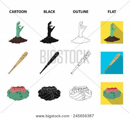 Zombies And Attributes Cartoon, Black, Outline, Flat Icons In Set Collection For Design. Dead Man Ve