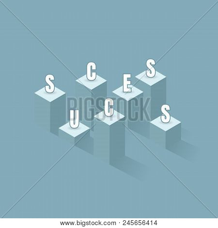 A Flag Of Success. Bar Graph Business To The Success Of The Financial Schedule. Leader, Winner And C