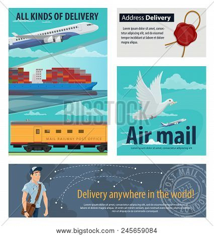 Mail Delivery Banner For Postal Service Design. Airmail Plane, Railway Post Office And Packaging Del