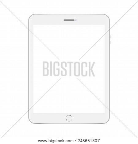 Mock Up White Tablet Isolated On White Vector Design.