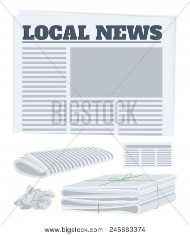 Newspaper Front Page, Roll, Piece And Crumpled Paper. Vector Illustration.