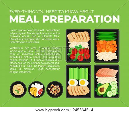 Vector Template For Magazine Article About Meal Preparation. Portion Of Food In Container And Bowl W