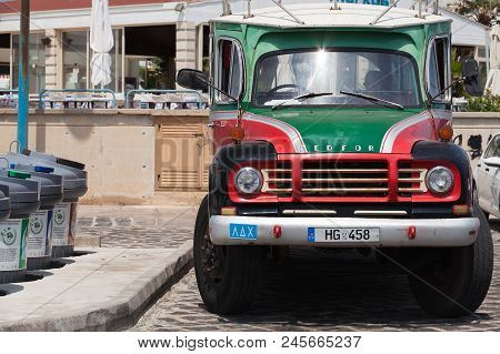 Ayia Napa, Cyprus - June 12, 2018: Old Bedford Tj Bus, Close-up Front View. Bedford Vehicles, Was A