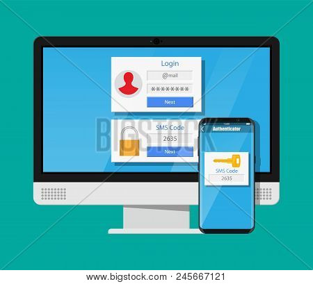 Two Steps Authentication Concept. Computer Monitor With Login Into Account And Smartphone With Sms A