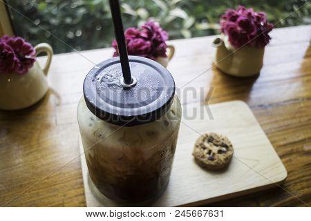 Iced Milk Coffee Time Enjoyment, Stock Photo