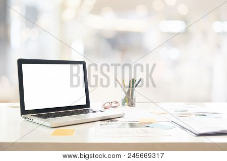 Workspace With Computer On White Table In Office.