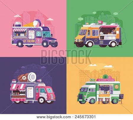 City fast food trucks and wagons set in flat design. Ice cream parlor, coffee van and summer juice caravan backgrounds. Street food festival cars with drinks and snacks on wheels. poster