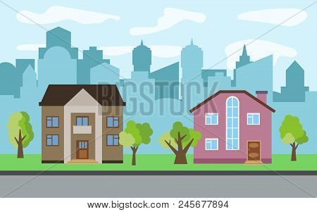 Vector City With Two Two-story Cartoon Houses And Green Trees In The Sunny Day. Summer Urban Landsca