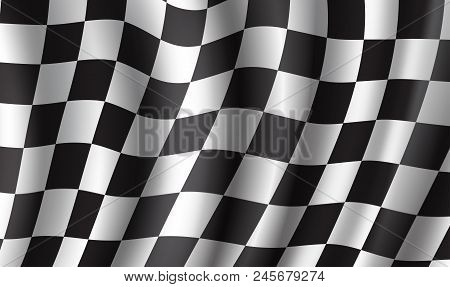 Racing Flag 3d Illustration Background. Race Sport And Rally Competition Checkered Pattern Of Black