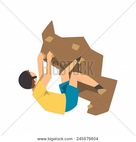 Male Climber Climbing Rock Mountain, Mountaineering, Extreme Sport And Leisure Activity Concept Vect