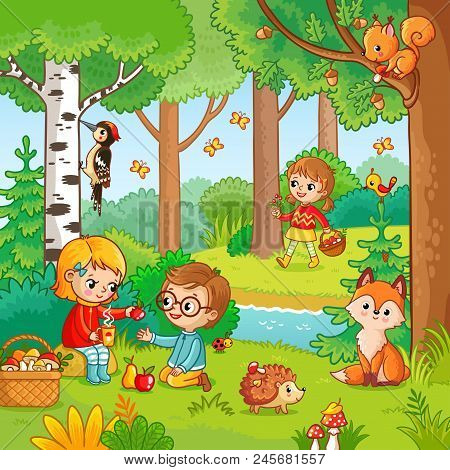 Picnic In The Forest With Children.