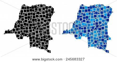 Dot Democratic Republic Of The Congo Map Versions. Abstract Geographic Map Version Done With Cold Bl