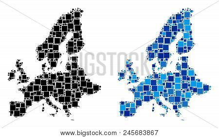 Dotted European Union Map Variants. Abstract Geographic Map Variant Designed With Cold Blue Color To