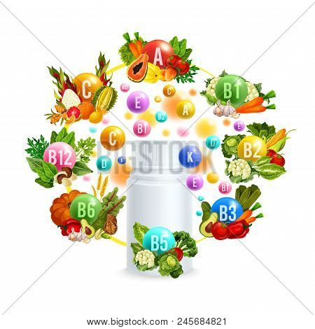 Vitamin Bottle, Surrounded With Group Of Natural Vegetarian Food Poster For Diet Supplement Advertis