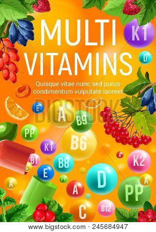 Multivitamin And Mineral Complex Banner With Fresh Fruit And Berry Frame. Colorful Capsule And Ball