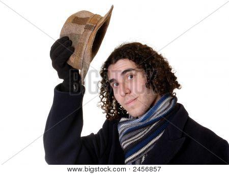 Man Raising Hat